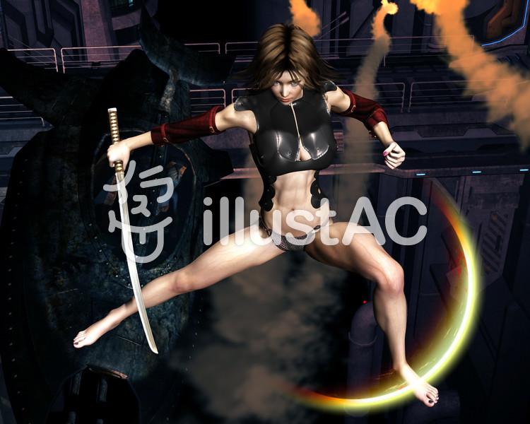 女闘士抜刀 壁紙 1280x1024のイラスト