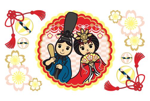 お内裏様とお雛様キャラクター桜鞠和風