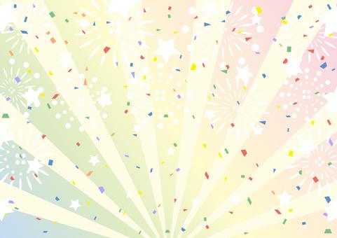 煙花五彩紙屑星集中線背景