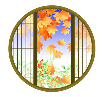 Autumn leaves from a round window ★ 0262-M