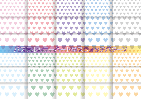 Pastel colored heart-shaped pattern set