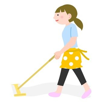 A woman cleaning a floor