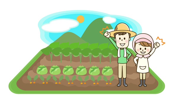 Farmhouse couple and field landscape 2-4 o