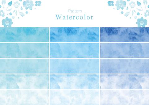 水彩パターンスウォッチ その3 青色