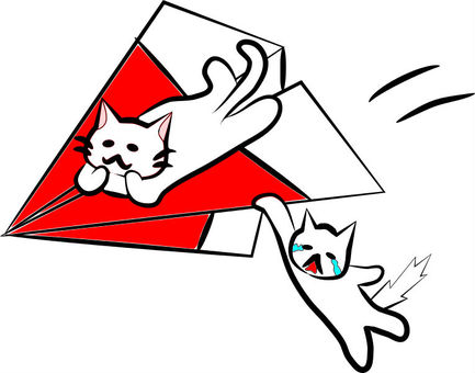 Nyan and paper airplane (red)