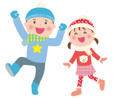 Energetic family Winter child