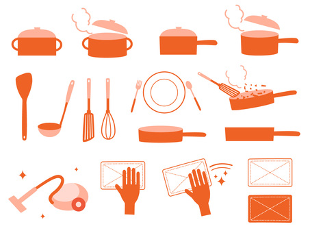 Housework food cleaning single color icon set