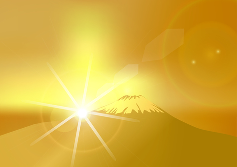 Fuji on first sunrise - golden color
