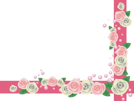 Pink rose and line frame