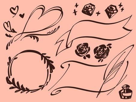 手繪書法風格框架集