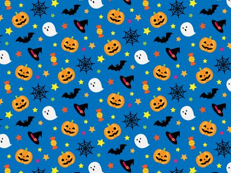 Halloween seamless pattern _ blue