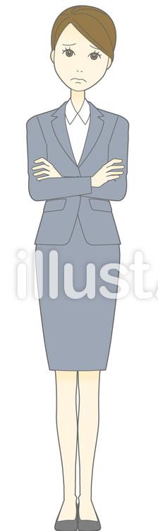 D女性スーツ-腕組み-全身のイラスト