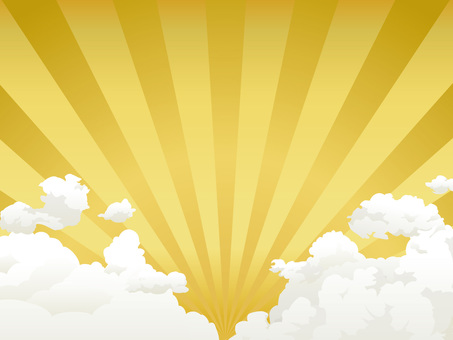 Summer cloud and gold radiation background