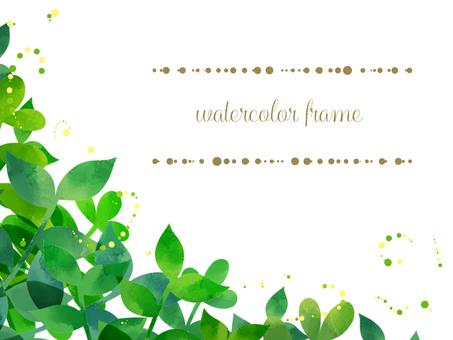Leaf watercolor frame