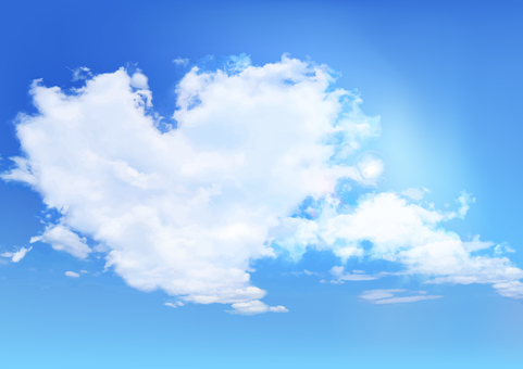 Blue sky and heart shaped clouds background material-vector