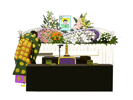 Temple and fresh flower altar
