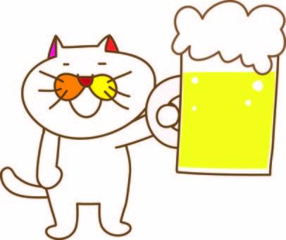 Amusing cat Tachiko and beer