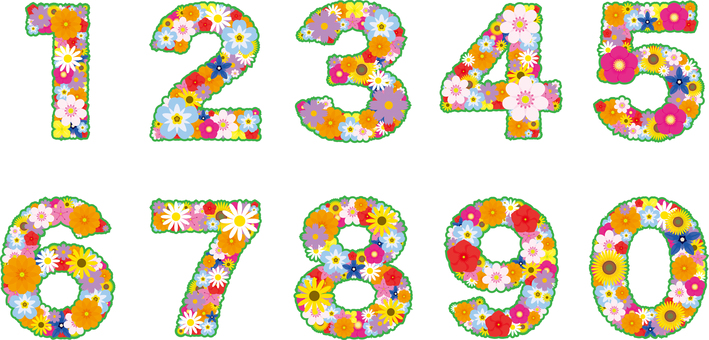Flower text numbers