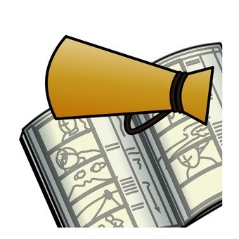 Megaphone and a storyboard