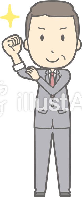 中年男スーツ-腕まくり-全身のイラスト