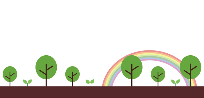 Illustration of trees and rainbows