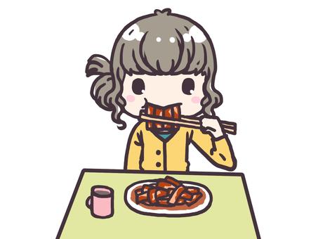 Girl eating toppogi