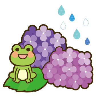 Hydrangea and frog