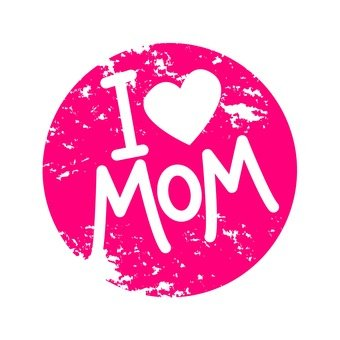 I Love Mama Logo Stamp