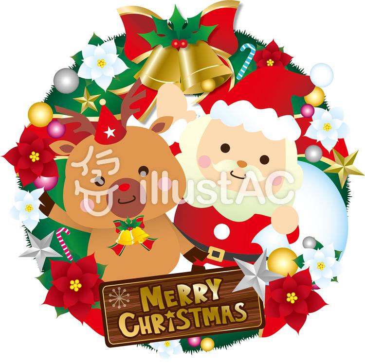 サンタとトナカイとクリスマスリースイラスト No 630144無料