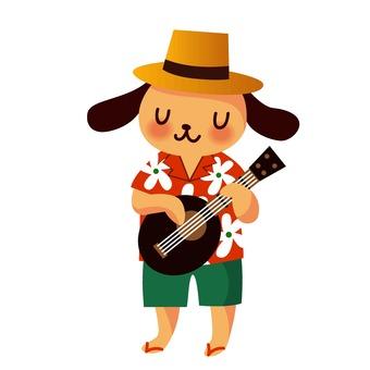 Dog playing ukulele
