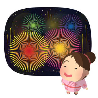 Illustration of a girl looking up at fireworks