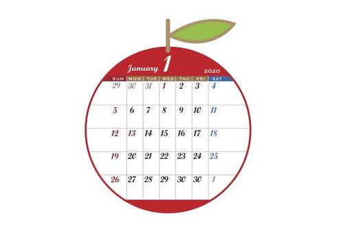 2020 Calendar apple red January