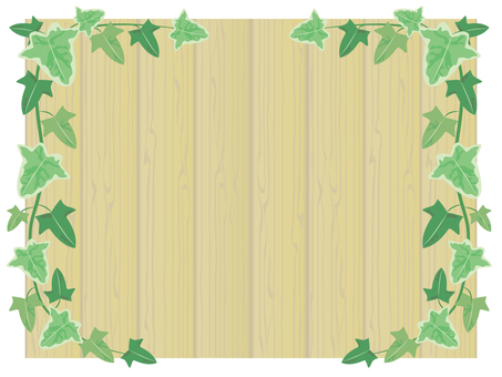 Brown wood board and Ivy