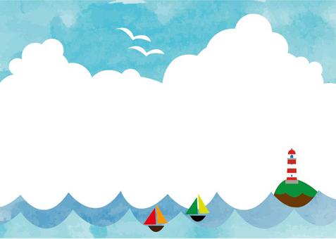 海洋背景云水彩框架
