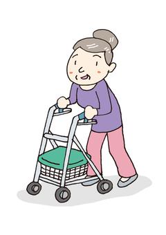 Grandma walking car