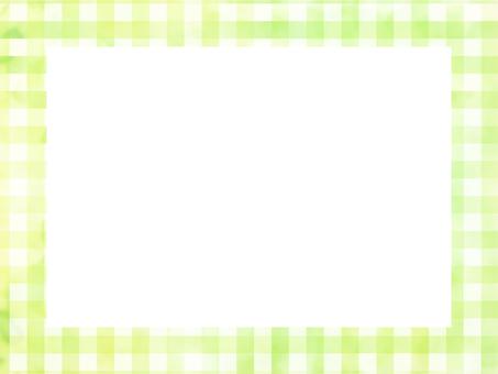 Watercolor check pattern frame green