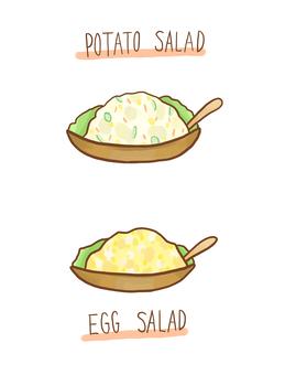 Potato salad and egg salad