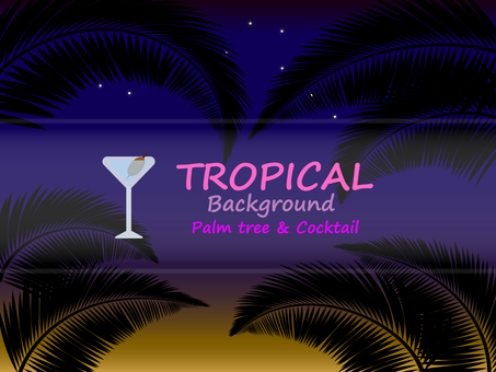 Summer night background palm leaf template