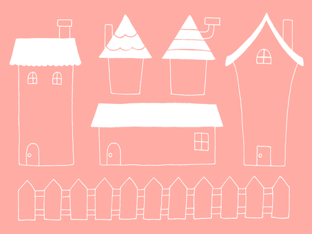 House type frame (peach & white)