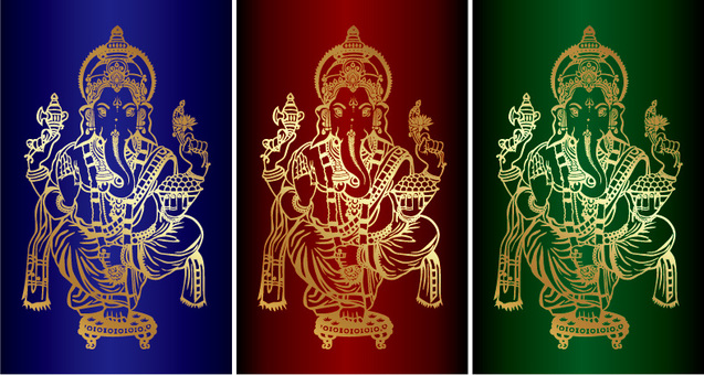 Ganesha Golden Line Red Blue Green Ver.