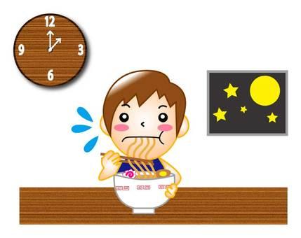 Eat noodles at late night time (male ver)