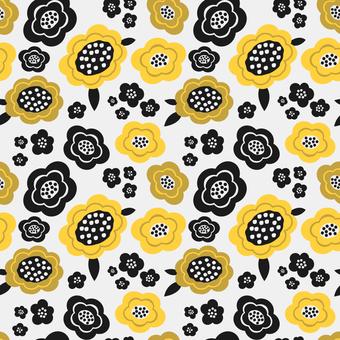 北欧風の黄色い花柄