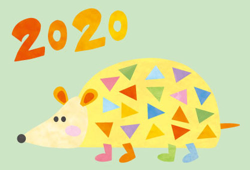 New Year's card Mouse 2020 Hedgehog