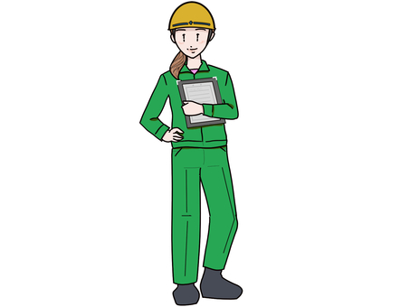 Woman in work clothes wearing a helmet