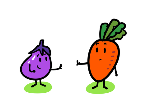 Carrots and eggplants-distance reached by reaching