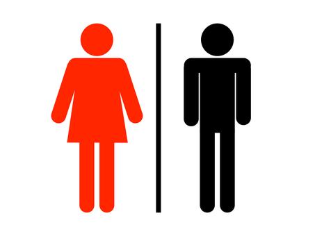 화장실 마크 화장실 검 붉은 선 수