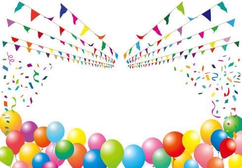 加兰旗帜运动天气球五彩纸屑气球装饰