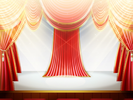 Red curtain lighting Stage Background and floor are white frames