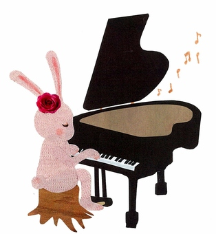 Animals and Musical Instruments Series - Usagi and Piano ~