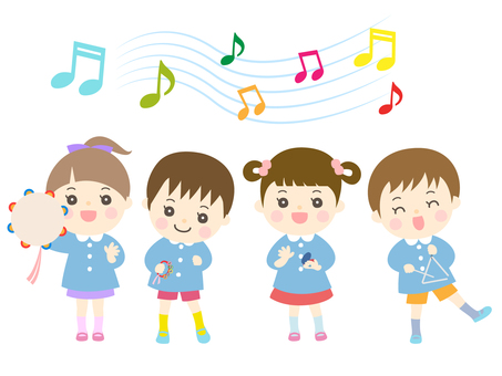 Boys and girls playing musical instruments